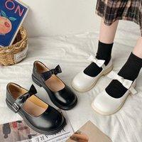 2021 Bahar Lolita Ayakkabı Yay Mary Janes Ayakkabı Platformu Deri Kızlar Ayakkabı Yuvarlak Ayak Rahat Ayakkabı Toka Kayışı Zapatos Mujer 8934N # OP3M