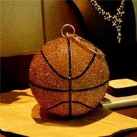 HBP 2021 Basketbol Çantası Yuvarlak Topu Altın Debriyaj Çanta Crossbody Bayan Akşam Rhinestone Çanta Bayanlar Parti Omuz Çantalar Pembe Siyah Bling