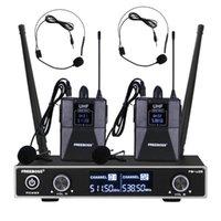 الميكروفونات FB-U35H2 الطريقة المزدوجة UHF نظام ميكروفون لاسلكي ثابت التردد مع 2PCS BODYPACK + LAVALIERHEADSET STEP