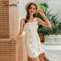 Günlük Elbiseler Simplee Katı Kadınlar Düz Düğmeler Mini Spagetti Kayışı Kadın Parti Elbise Bayanlar Ofis Kısa Vestidos1