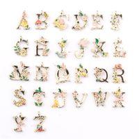 26 Inglese Lettera Charms Ciondoli Pendenti Gioielli fai da te Goccia Alloy Alloy Flower Art Bracciali Componenti Donne Uomini Fascino Moda 0 48CW M2