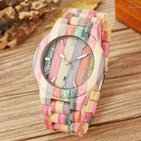 Relojes de madera de bambú Hombres Mujeres Personalizadas Hecho a mano Colorido Bambú de madera Masculina Cuarzo Cuarzo Pareja Reloj de pulsera Date Reloj Regalo1