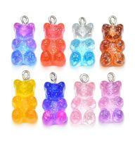 100 stücke Süße Gummibärchen Charme Flache Rückenharz Halskette Anhänger Ohrring Charms Für DIY Dekoration 11 * 23mm