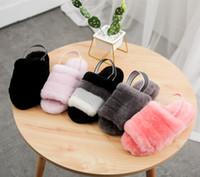 2021 Botas Australianas Puffer Womens Designer Slipper Fury Fluff Fury Slides Pantufles Piel Sandalias de lujo 35-42 3D8C #