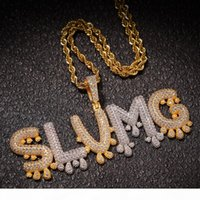 Personalized Custom name Necklaces Drip iced out Bubble Letters Pendant Gold Silver Rose Golds Rope chains For Women & Men Hip Hop Jewelry