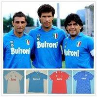 Retro Napoli Jerseys 87 88 89 90 91 93 Maradona Napoli Soccer 86 Mertens Alemao Careca Maradona Hamsik Camicia da calcio Vintage Calcio caldo 7