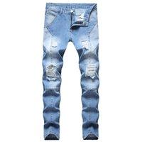 망 디자인 청바지 패션 패션 바이 커 청바지 마른짜리 고민 된 밝은 파란 데님 바지 도매 도매 주식 청바지