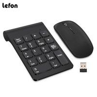 LEFON 2. Mini teclado digital inalámbrico 18 teclas Número USB Numérico Keypad Pad Mouse para PC portátil Notebook Desktop LJ200925