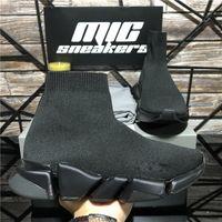 Высочайшее качество вязаные носки обувь сетка скорость 2.0 тренер высокогонка бегуны мужские дизайнерские кроссовки черный белый скольжение на тройных повседневных платформах кроссовки с коробкой