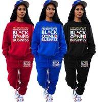 Kadın Siyahlar Sahip Oldukça İş Mektupları Baskı Eşofman Mürettebat Boyun Hoodie Pantolon İki Parçalı Kıyafetler Rahat Kazak Pantolon Spor Takım E121602