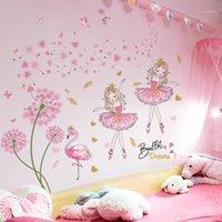 [Shijuehezi] Pink Dandelion Flowers Etiqueta de la pared DIY Girl Flamingo Mural Calcomanías para niños Dormitorio Baby Room Nursery Decoration1