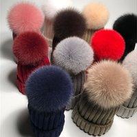Pompom Mütze 100% echte große Ball-Skullies Winter Natürliche Pompon-Kappe Frauen Flaumy Fuchs Pelz Pom Strickmützen Hüte