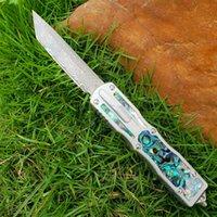 Damasco auto faca tática vg10-damasco aço Único borda tanto lâmina 6061T6 abalone shell alça com bainha de nylon