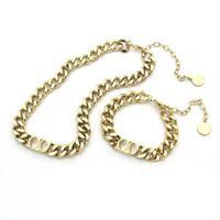 Мода Письмо из нержавеющей стали 14K Золотая кубинская ссылка цепи ожерелье колье браслет для мужчин и женщин любовников подарок хип-хоп ювелирные изделия