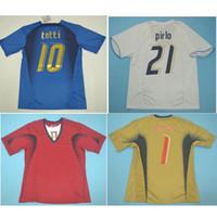 أعلى 2006 إيطاليا الرجعية لكرة القدم الفانيلة جاتوسو كانافارو بوفون لكرة القدم قميص تولي ديل بييرو جيرسي بيرلو كلاسيك مايلوت دي القدم