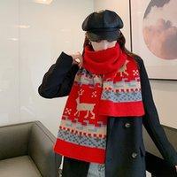 Nouveau Noël Femme épaissie épaissie hiver chaude 2020 motif elk motif tricotant coupe-vent longue foulard de festival châle