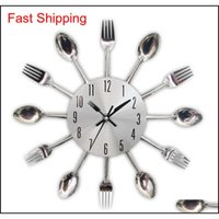 2017 Nuevo Moderno Cocina Reloj de Pared Sliver Cubiertos Relojes Cuchara Fork Creative Wall Pegatinas Mecanismo Diseño H JLLLWMM BDEFIGHT