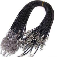 100 قطع الأسود جلد الشمع حبل الحبل قلادة سلسلة 45 + 5 سنتيمتر diy سلسلة حزام حبل جراد البحر المشبك الجلود مجوهرات سلاسل
