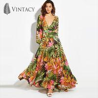 도매 - Vintacy 2017 패션 여성 여름 맥시 비치 드레스 그린 V 목 긴 드레스 보헤미안 랜턴 슬리브 Boho 드레스 Femal Party Dress1