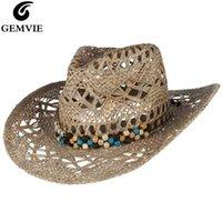 Gemavie New Stroh Western Cowboy Hut Für Frauen Cowgirl Sommer Hüte Für Dame Sun Hat mit Leder Perlen Gürtel Beach Cap Panama Y200714
