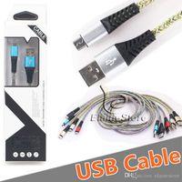 عالية السرعة المعدن اللون جديلة مايكرو USB كابل نوع C كابل 2.1A شاحن الهاتف لسامسونج S20 S8 8Plus S7 الروبوت الهاتف مع حزمة مربع