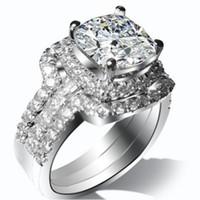18K weiß vergoldet 2ct Kissen Verlobungsring Hochzeitsbänder NSCD Simulierte Diamantringe Set Frauen PT950 Gestempelte Schiff aus den USA
