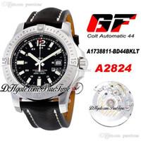 GF COLT A1738811-BD44BKLT ETA A2824 Otomatik Erkek İzle Siyah Dokulu Dial 44mm Safir Siyah Deri En Iyi Baskı Ptbl Puretime Tzz01B2