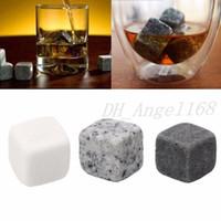 6 pçs / conjunto de baldes de uísque natural pedras rochas cerveja uísque de gelo vinho com bolsa de saco