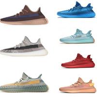 2020 nouvelles chaussures de course kanye lumineuses de forme réelle super espace argile statique noire et blanche réfléchissant belgua zèbre baskets hommes et femmes