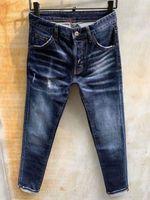 men jeans blue denim true Straight washed zipper denim jeans for men decorated classic europen stlye pants WrZ