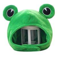 Новинка забавная большая лягушка глаза милая мультфильм плюшевая шляпа игрушка зеленый полная шапка головной уборной шапкой косплей костюм вечеринка одеваются фото