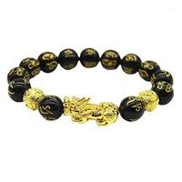 Buddha Perlen Armband Männer Frauen Unisex Chinesische Feng Shui Pi Xiu Obsidian Armband Gold Reichtum und Glück Frauen Armbänder1