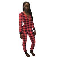 Weihnachtsfrauen Rot Schwarz Plaid Patchwork Jumpsuit Mode V-Ausschnitt Sexy Siamesische Hose Casual Sports Leggings Home Kleidung E120803
