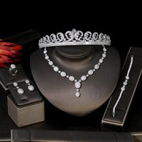 새로운 5 스타일 웨딩 쥬얼리 세트 큐빅 지르코니아 신부 크라운 목걸이 귀걸이 반지 팔찌 5 피스 쥬얼리