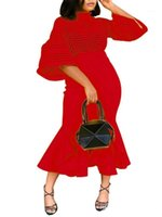 Vestidos de festa mulheres vestido de natal vermelho sexy malha bodycon sereia fishtail midi noite elegante jantar jantar1