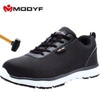 MODYF Мужская обувь безопасности дышащий стали Toe Lightweight Anti-разбив Нескользящие Светоотражающие Повседневный Sneaker Работа