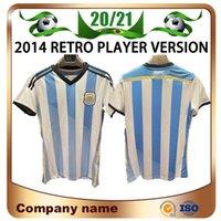 2014 Coupe du monde Version du joueur rétro Argentine N ° 10 Messi Soccer Jerseys Home di Maria Higuain Agüero Mascherano Lavezzzi Chemise de football