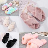 tok5b Fashion Beach Summer Slippers wgg slipper Heel plushWoman Cross Medium Alphabet Slippers Designer Rough Sandals Cloth