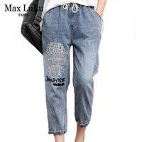 Max Lulu 2020 летняя мода стиль дамы роскошные вышивка джинсы женские повседневные эластичные джинсовые брюки свободно разорванные брюки гарема C0115
