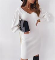 여성 가을 연필 드레스 섹시한 중공 밖으로 디자인 레이스 장식 V-Neck Lantern 긴 소매 솔리드 슬림 엉덩이 미니 드레스