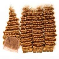 Puro 27 Honey Blonde Rubia Peruana Human Wave Weave Weave Bundles con trama de pelo rubio de fresa de cierre con cierre superior de encaje 4x4