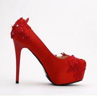 Dress Shoes Lovely Sequins Lace Spring Pumps Elegant High Heel Platform Red Satin Bridal Stiletto Wedding