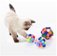 Cats Kitty Bolas Elásticas Diversión Hecho A Mano Diversión Flexible Pequeño Campana Bola Color Color Color Mascotas Juguetes Suministros Calientes Venta 3 8SI M2