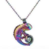 C240 Colore arcobaleno Lovely Animal Lizard perline perline Cage Pendant Essential Diffusore Olio Aromaterapia Pearl Cage Locket Collana pendente