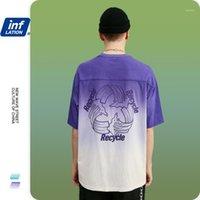 Camisetas para hombres Inflación hombres camiseta en DIP Dye Streetwear Hip Hop T Shirt con la impresión trasera Tops de gran tamaño Camiseta azul 1235S201