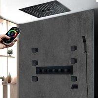 Chuveiro de jato de corpo de banho de acabamento preto Faucet de chuveiro de chuveiro de chuva de chuva LED 5 Way Banheiro torneira de alto fluxo de chuveiro