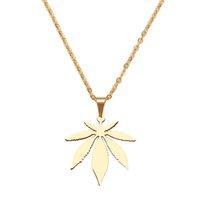Cool aço inoxidável deixa colar para mulheres homem maple folha gargantilha pingente colares jóias de noivado