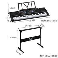 glarry 61キーポータブルピアノピアノスタンドスピーカーヘッドフォンマイク音楽休憩LCDスクリーンUSBティーチングモードブラック