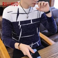 Men's Sweaters RUIHUO Knitted Sweater Men Clothing Pull Winter Clothes Pullover Mens Coat 2021 Autumn M-3XL