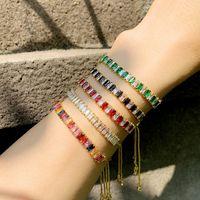 18K Gold Diamond Tennis Bracelet Красочные тяги струны регулируемые кубические Zircon браслеты женские мода ювелирные изделия будут и песчаный подарок